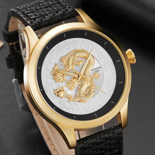 Fashion Top Brand Men Watch Golden Dragon 3D Sculpture Dial Luxury Watch Men Unique Wrist for Male Clock Relogio Masculino