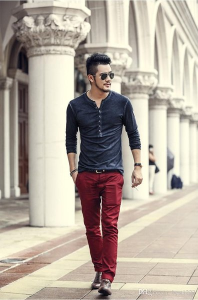 Men Cotton Vintage Henry T Shirts Casual Long Sleeve High quality Men old color Cardigan T shirt 2018 hot sale