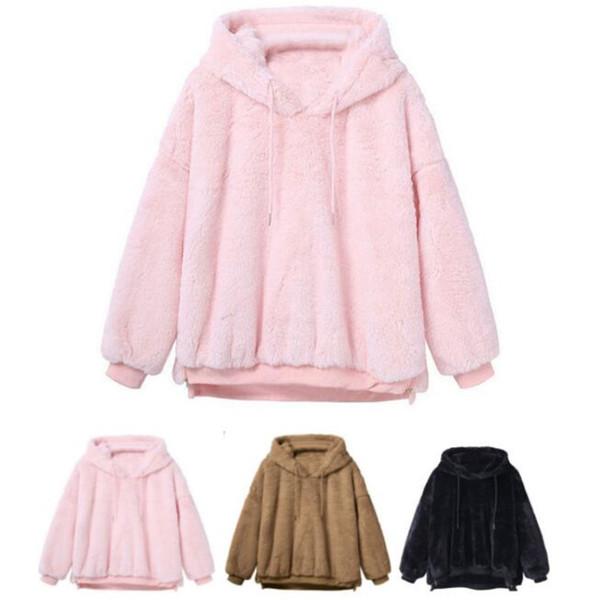 Women Sherpa Hoodie Casual Loose Long Sleeve Plush Hoodie Thicken Hooded Pullover Winter Warm Sweater Hoodies Drawstring Sweatshirt gifts