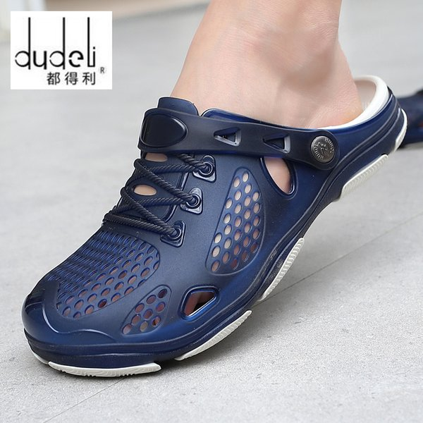 New summer casual men sandals beach waterproof breathable jelly shoes big size 45 slip on solid green black blue sandal for male