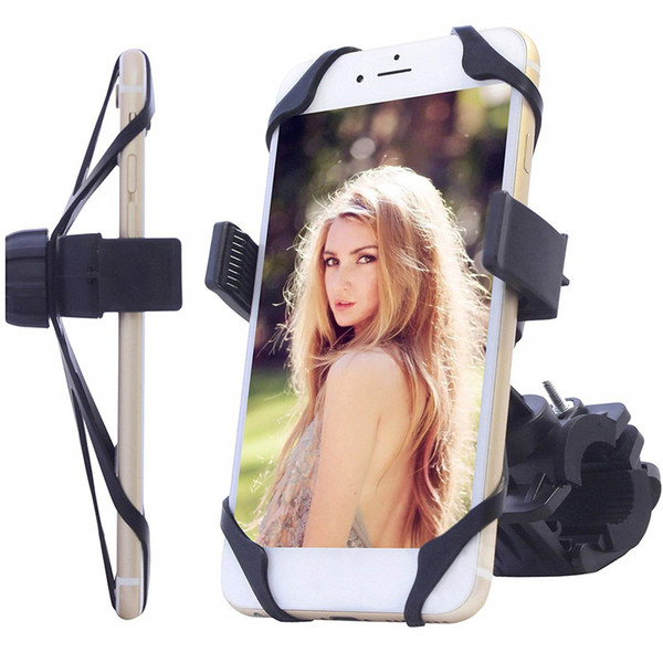 Bicycle & Motorcycle Phone Mount Silicone Handlebar Holder for iPhone Samsung GPS iPod Safeness & Comfort Cellphone Bike Bracket Cradle