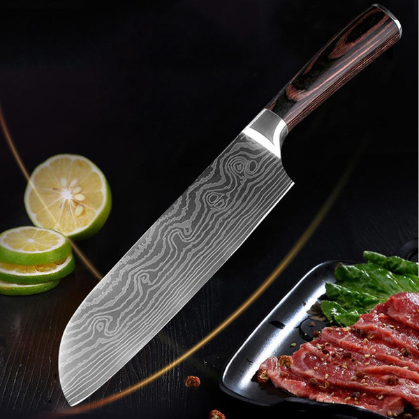 Imitation Damascus Steel Sharp Cleaver Sushi Knives 7 Inch Chef Knife Wood Handle Flowing Sand Wave Pattern Kitchen Meat Knives BH1472 TQQ