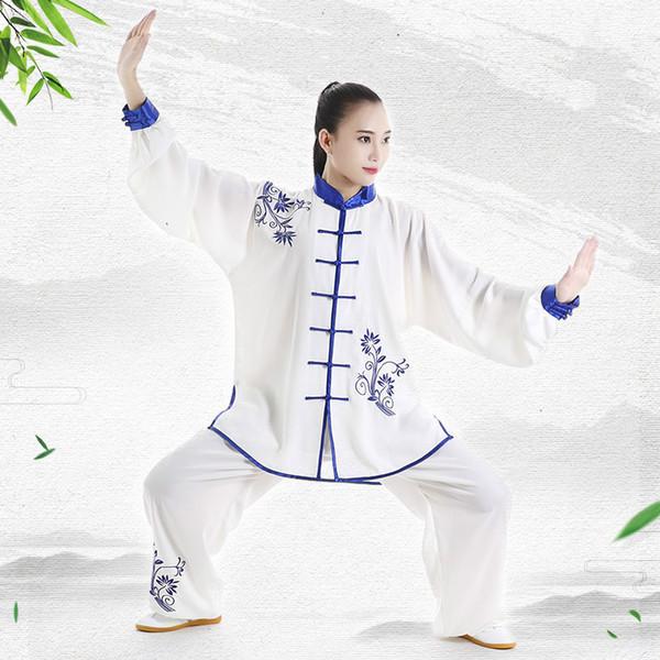 Manches longues Wushu Vêtements Broderie TaiChi KungFu Uniforme Printemps Automne Femelle Tai Chi Costume Uniformes Exercice Vêtements