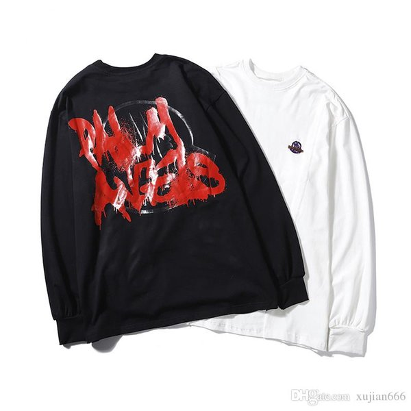 Autumn and winter new co-branded logo graffiti, asymmetrical sweater, early autumn thin long sleeves, black, white.