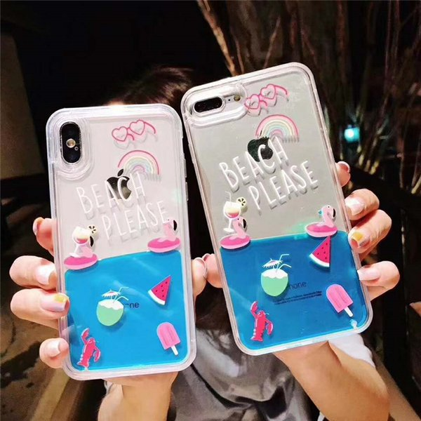 Summer Trendy Flamingo Fruits Beach Flowing Phone Case Clear Liquid Cover For iPhoneXR XS XS MAX 8P 6s 7plus Korea Shell Protection