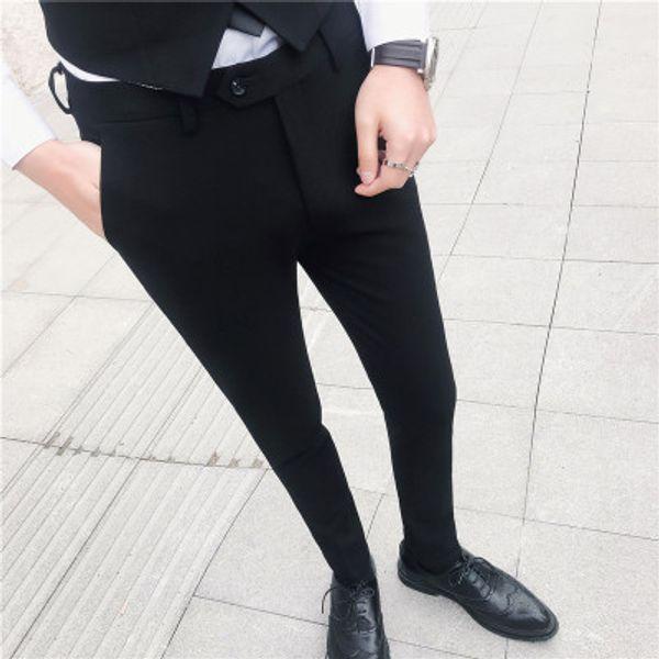 Formal Trousers Men Suit Pants Slim Fit Mens Dress Pants For Wedding Party Casual Solid Color Black Pantalon Costume Homme 2019