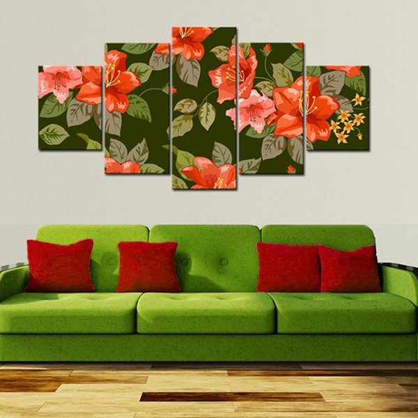 Modern HD Print Modular Pictures Canvas Wall Art 5 Pieces Red Flowers Green Leaves Painting Decoration For Living Room Framework