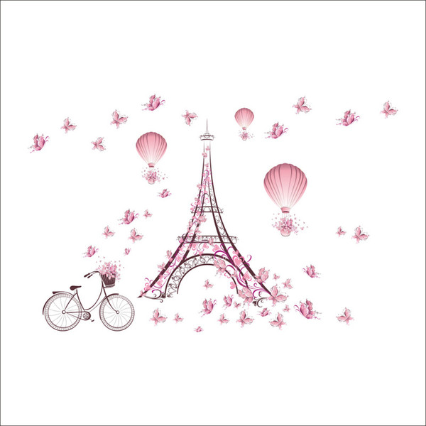 Iron Tower Wall Decor Pink Butterfly Wall Sticker for Kids Room Bedroom Home Decor DIY Scenery Poster Mural Wallpaper Wall Decal