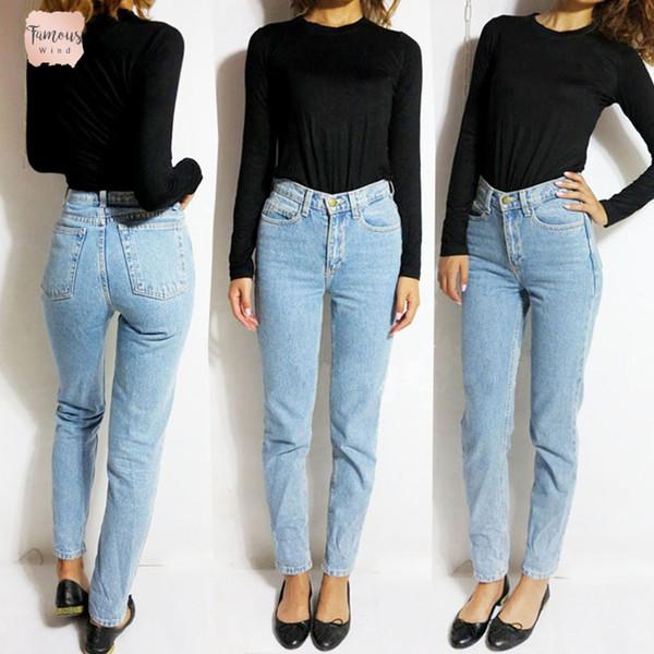 Novio negro Jeans para las mujeres de cintura alta de la tela escocesa del dril de algodón delgado de la vendimia mamá Jeans vaqueros del lápiz de la mujer pantalones de mezclilla