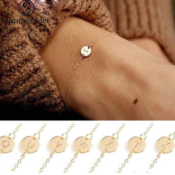 Vendita calda A-Z lettera iniziale braccialetto di fascino per le donne ragazze regolabile taglia 26 nome alfabeto collegamento bracciale moda gioielli economici