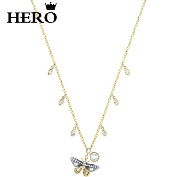 HERO High Quality Original Copy 1:1SWA Butterfly Necklace Logo Gift Preferred Free Package Manufacturers Wholesale