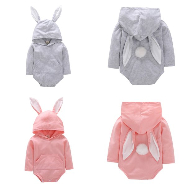 Baby romper 2 colors 0-18M Boys Girls 100% cotton romper jumpsuit hooded outfits cute Rabbit Ear long sleeve romper baby clothing DHL FJ71
