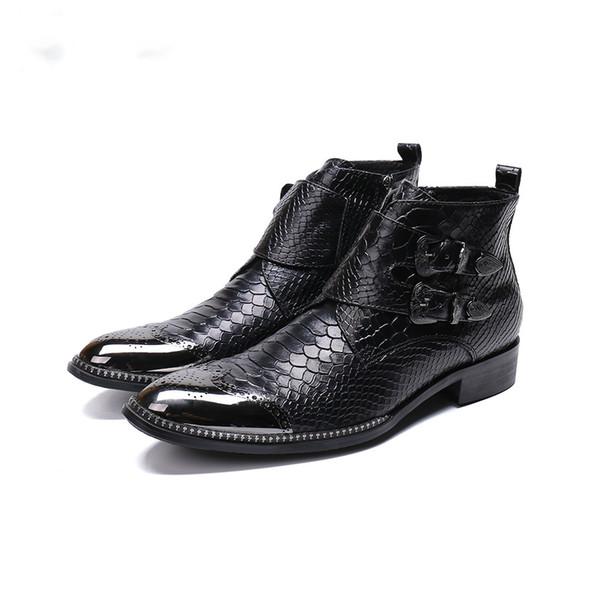 Christia Bella Handmade Men Short Boots Metal Tip Toe Black Leather Short Boots Male Work Safety Cowboy Boots Men botas hombre