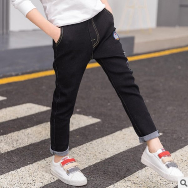 Children's Embroidery Cat Jeans New 2019 Autumn and Spring Kids Trousers Boys Pants Denim Silm Black Color Size4-14 Jeans ly151