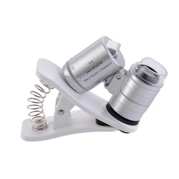 Ingranditore per microscopio con clip LED da 60X con luci a LED / UV per SmartPhone universale Samsung HTC Magnifier 35pcs