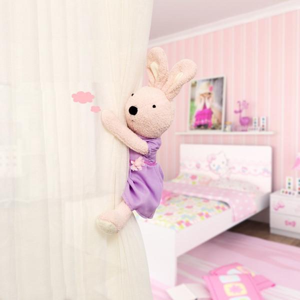 Magnet Vorhang Schnalle 4 Designs Kaninchen Plüsch Spielzeug Vorhang Clip Kinder Cartoon Schlafpuppe Hause Fenster Dekorationen 1 Stücke ePacket