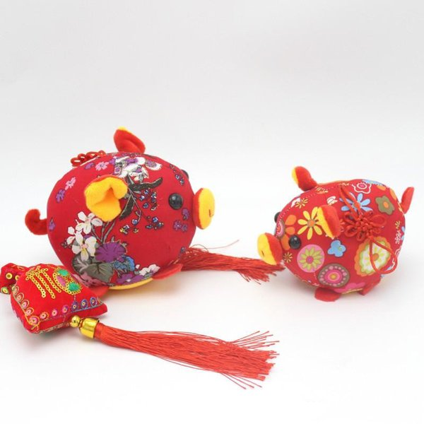 Chinese Knot Flower Pig Plush Pendant Lovely Mascot Toy For Home Living Room Decoration Toys New Arrival