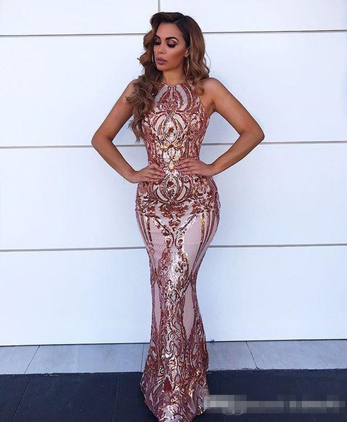 Gorgeous Rose Gold Mermaid Prom Dresses 2019 Lace Sequin Sexy Criss Cross Backless Floor Length Evening Red Carpet Gowns