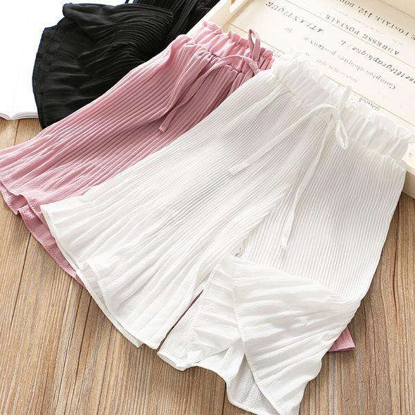 Girls chiffon princess pants kids ruffle wide legged pants children lace-up Bows elastic waist beach pants 2019 summer kids clothes F5033