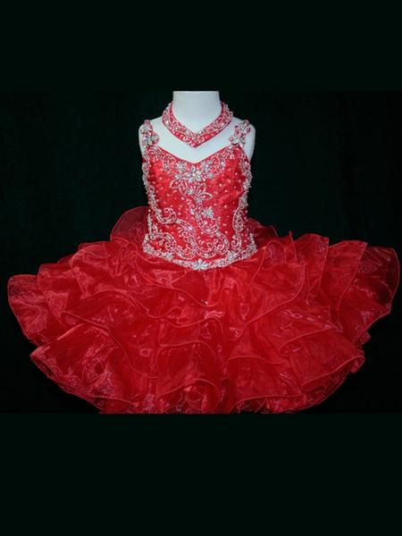 Little Rosie Toddler Ball Gown Abiti da ragazza di fiori con cinturino per spaghetti Organza in rilievo Abiti da spettacolo corti Cerniera