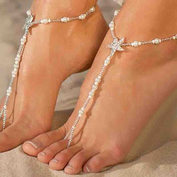 Sexy Ladies Starfish Anklet Girls Boho Pearl Foot Jewelry Anklet Beaded Chain Barefoot Sandals Bridal Wedding Jewelry Free Shipping