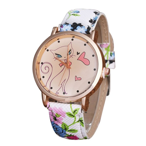Blue/Green Fashion Simple Faux Leather Watch Strap Sports Girl Child Cartoon Cat Quartz Watch Gift
