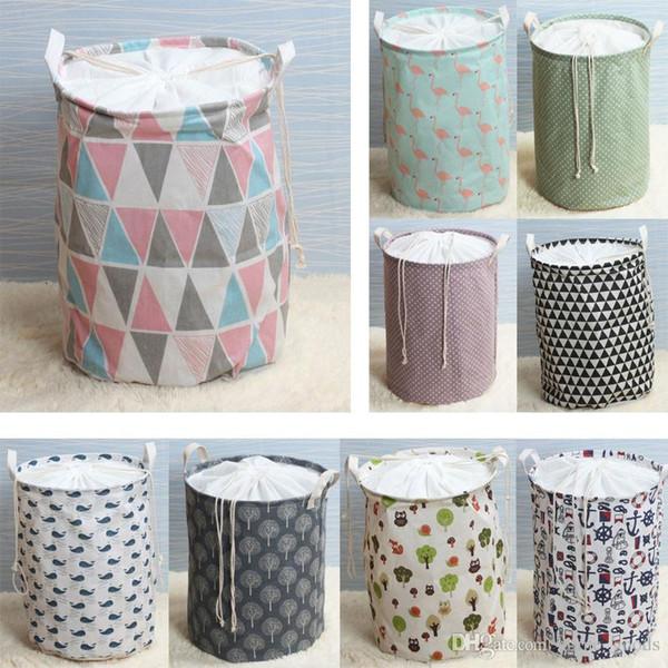 17 styles seau de stockage Pliable cosmétiques jouets de vêtements de blanchisserie sac en toile Organisateur Sac grande capacité Paniers Dessin poche
