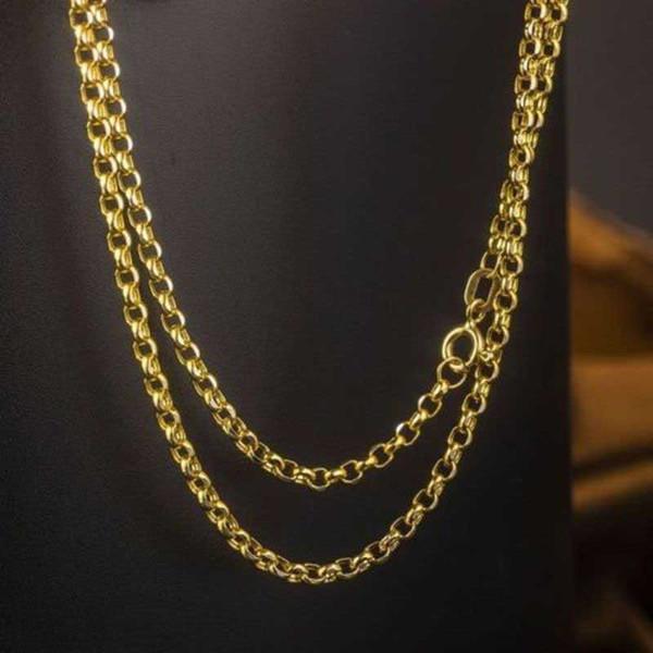 FINE Pure 18K Collana in oro giallo da donna Rolo Cable Link Chain Au750 da 24 pollici