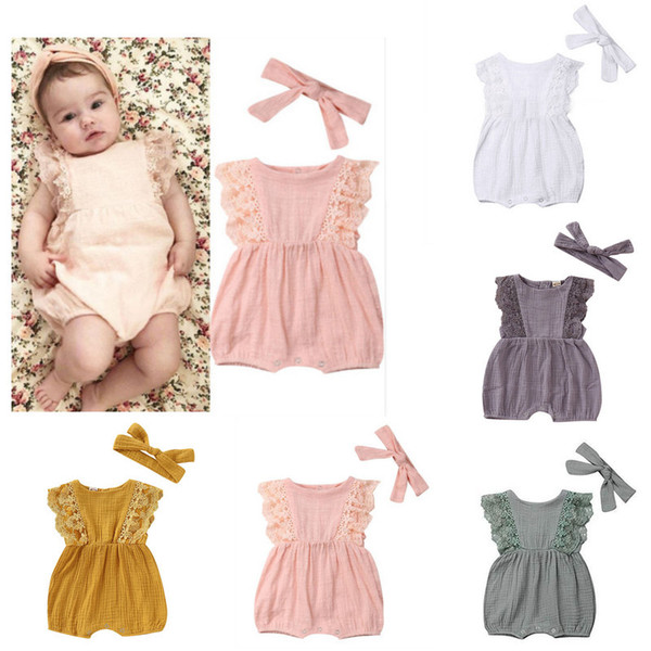 Cotton lace baby romper with headbands Kids Designer Clothes Girls Sleeveless Jumpsuits rompers infant one piece jumpsuit toddler bodysuit