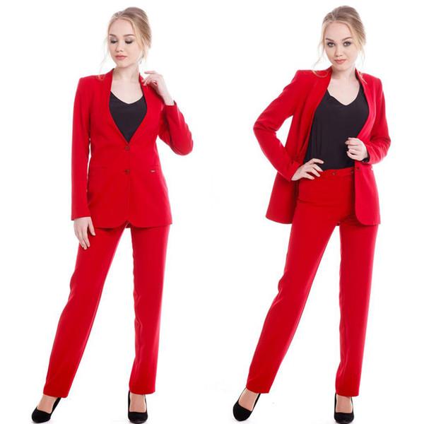 La mère rouge des robes de mariée costumes de soirée de dames Blazer Pant bureau formel travail smokings sexy
