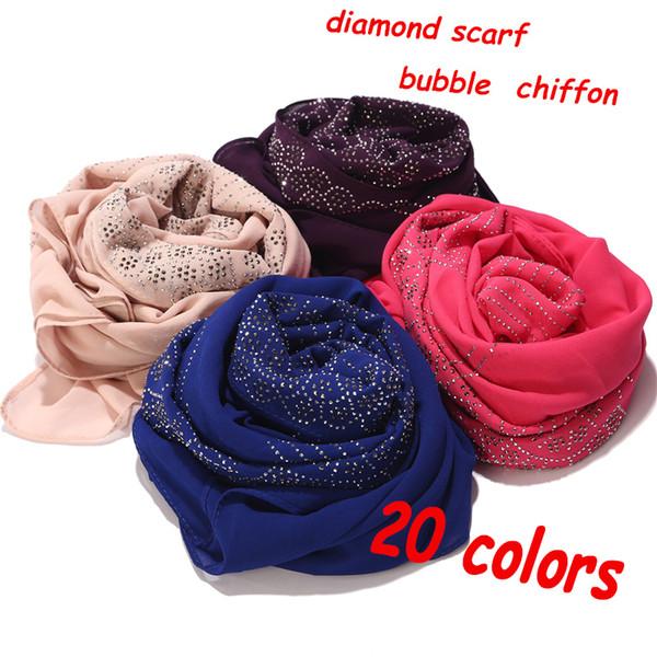 Women diaomd scarf snow shape wave shape plain bubble chiffom hijab scarf shawl bead wrap headband Muslim Hijabs