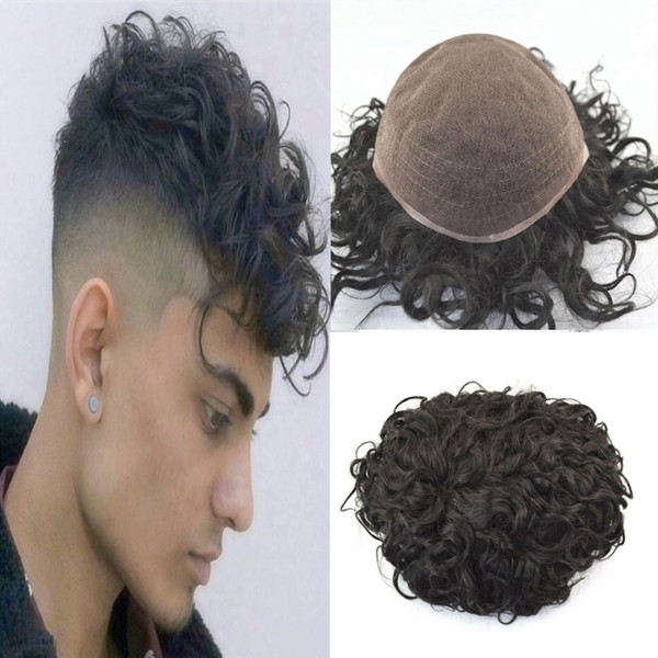 2019 Curly Wave Toupee For Men All French Lace Human Hair Men Toupee Replacement Systems Remy Hair 20mm Wave Full Lace Mens Toupee Hairpiece From