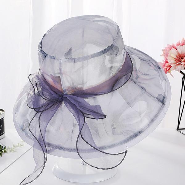 Fashion Summer Organza Sun Hats For Women Elegant Laides Church Vintage Hat Wide Large Brim With Bowknot Hat Chapeau Female