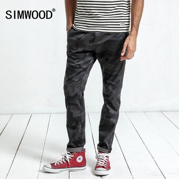 Simwood 2019 Yeni Pantolon Kamuflaj Yüksek Kalite Bahar erkek Moda Rahat Pantolon Resmi Ince Cep Marka Pantolon Xc017032 SH190825