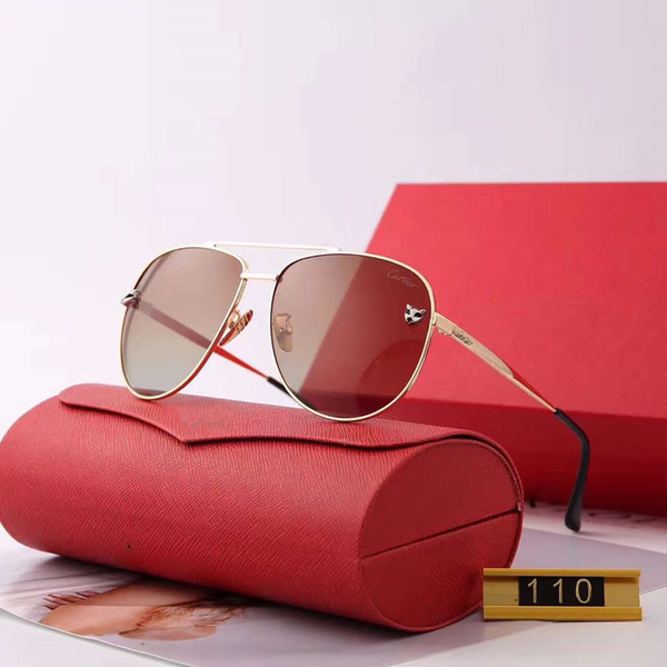 Yaz Erkekler Bayan Tasarımcı Güneş Gözlüğü Moda Güneş Gözlüğü Adumbral Gözlüğü Sürüş Gözlük UV400 Modeli 110 5 Renkler Kutusu ile Yüksek Kalite