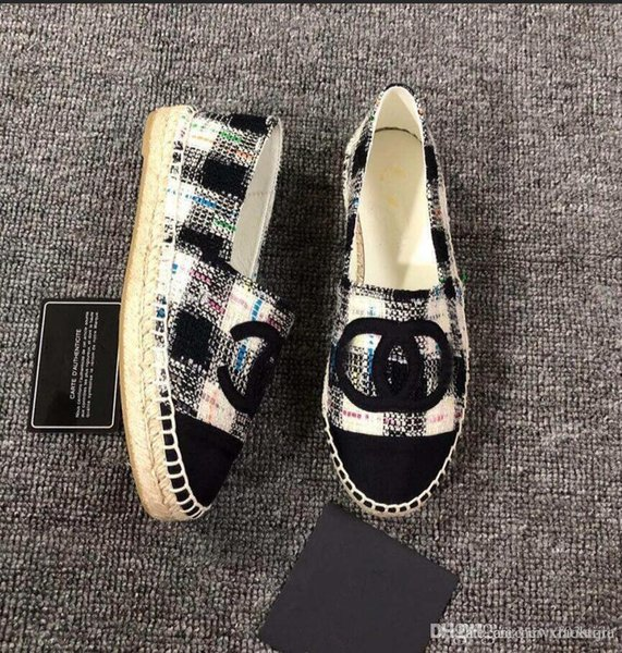 NIBChane1 Quilted Espadrilles Black Grey White Canvas Espadrilles Flats Cap Toe Espadrilles Flat Shoes with Original Box