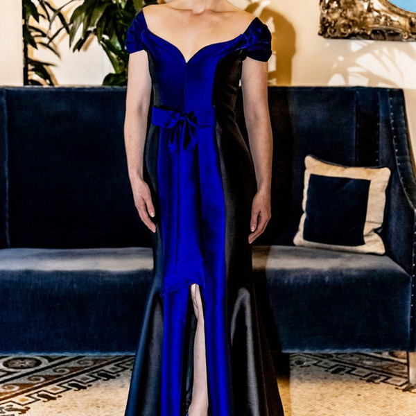 Royal Blue Plus Size Mother Of The Bride Dresses 2019 Sweetheart Neck Floor Length Wedding Dress Front Split Prom Guest Mother Evening Gowns