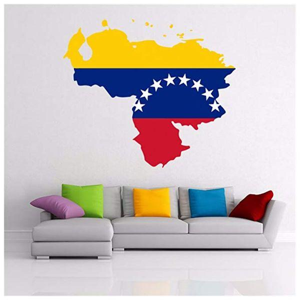 DIYthinker 8 Estrelas Bandeira Venezuelana Mapa da Venezuela Adesivo de Parede de Vinil Personalizado Decoração de Casa Adesivo de Parede Decoração de Casamento PVC Papel De Parede
