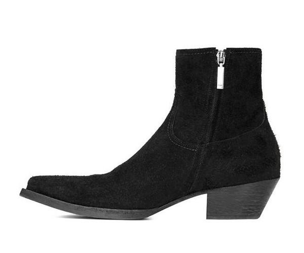 Venta-2019 Hot Hombre de París Lukas botas de ante del cuero genuino del dedo del pie en punta de la cremallera del desfile de moda botas de calidad de los zapatos