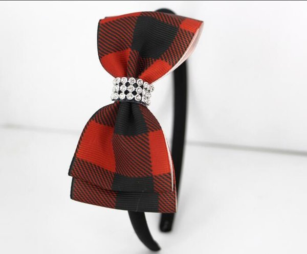 hot New design 5'' Red Black Plaid Hair Bows for Kids Girl Handmade Cute Black white gingham Bowknot With Clip Hair Accessories 27pcs/9set