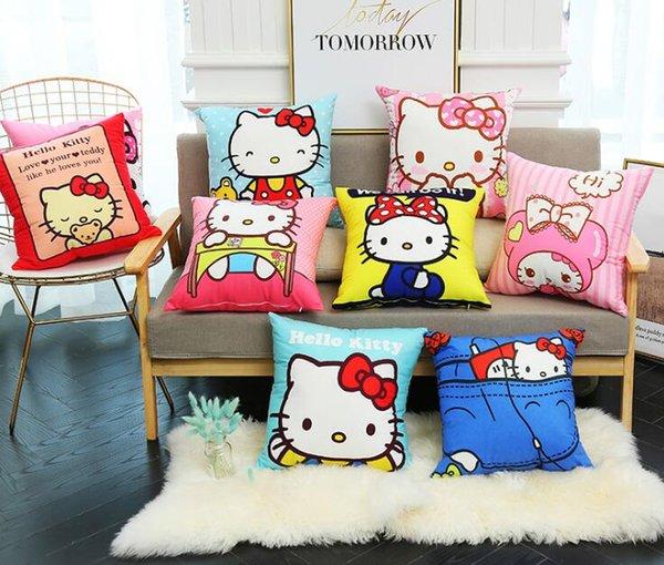 Bonjour Kitty Taie d'oreiller Mignon de Bande Dessinée Kitty Rose Imprimé Enveloppe de coussin Home Bed Canapé Filles Salon Decration