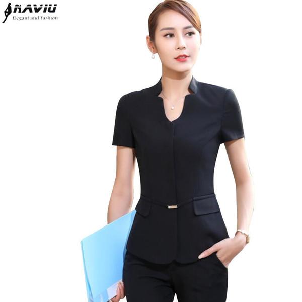 Summer Fashion Business Women Pant Suit Formal Slim Short Sleeve V Neck Blazer And Trousers Office Ladies Work Wear Uniform Q190521