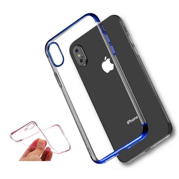 Silicone claro case para iphone xs max xr x 8 7 6 plus tpu macio chapeamento quadro transparente capa phone case para samsung s8 s9 plus nota 8 9