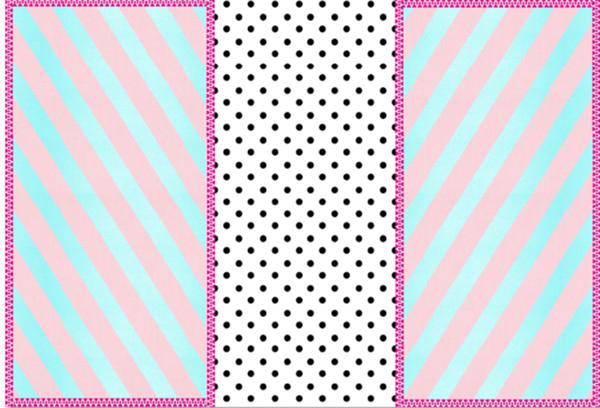 7x5ft Pink Aquamarine Stripes Frame Black White Polka Dots Dolls Custom Photo Studio Background Backdrop Vinyl 220cm x 150cm