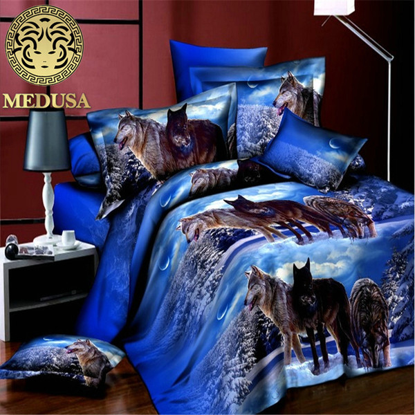 textiles para el hogar, reactiva 3d reina lobo juego de cama tamaño de fundas de almohada edredón / edredón cubierta de la hoja de cama 4pcs juego de cama