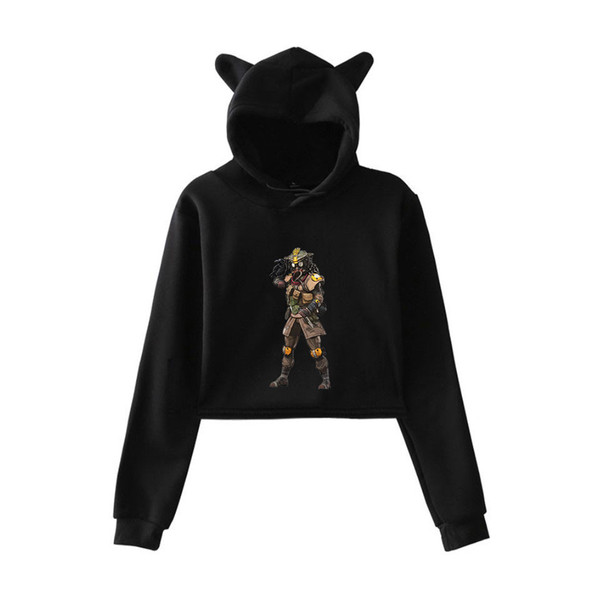 Apex Legends 3D Print Game designer hoodies Cropped Hoodies Sweatshirt Women Sexy Cat Ear Hooded Pullover Crop Casual Tops Clothes 5 Colors