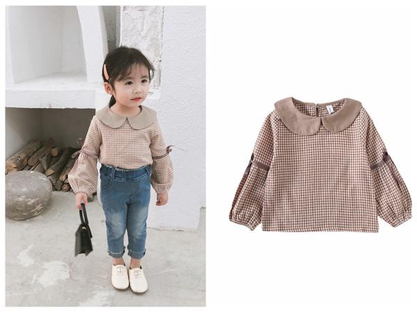2019 Yeni tasarım bebek kız bluz uzun kollu ekose riband butik çocuk ızgara giyim ücretsiz nakliye tops