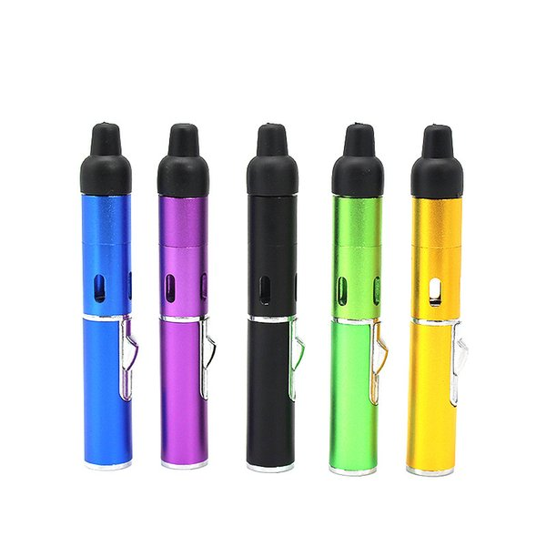 Smoking Pipe Click Vape Sneak Toke Herbal Vaporizer E-Cigarette Water and Wind Proof Torch Lighter Free shipping