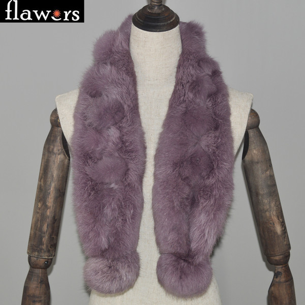 Winter Natural Fur Scarf Women Knitted Genuine Rabbit Fur Ring Scarves Lady Warm Soft Real Rabbit Mufflers Shawls Wholesale