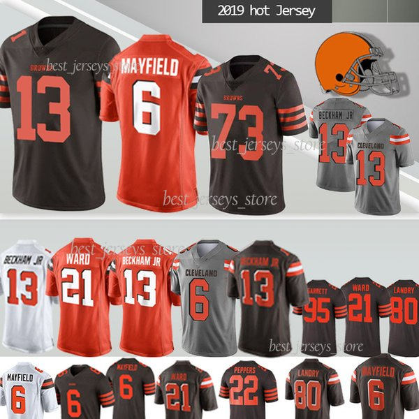 Cleveland Jersey 13 Odell Beckham Jr Brown camisetas de 6 Baker Mayfield 80 Jarvis Landry 21 Denzel Ward, NCAA 95 Garrett Jersey 2019